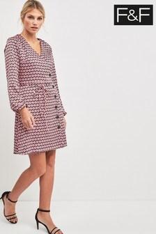 F&F overhemdjurk in roze met geometrische print