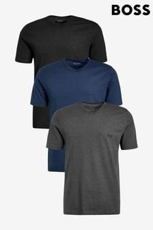 מארז של שלוש חולצות טי עם צווארון וי של BOSS