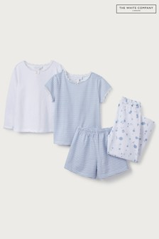 The White Company White/Blue Floral & Stripe Pyjamas 2 Pack