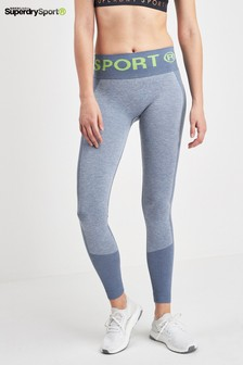 Superdry Sport Nahtlose Leggings, Blau