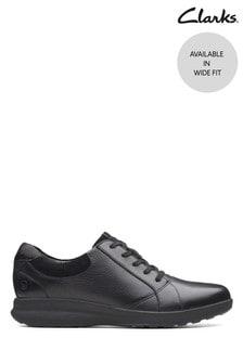 Clarks Wide Fit Black Un Adorn Lace-Up Shoe