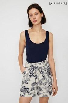 Warehouse - Zwarte short met Balinese bloemenprint