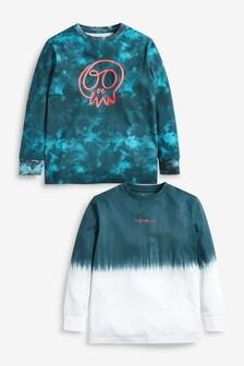 2 Pack Long Sleeve Tie Dye Skull T-Shirts (3-16yrs)