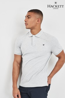 Hackett Grey Slim Fit Logo Short Sleeve Polo