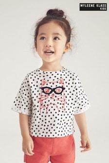 Dziecięca koszulka Myleene Klass w kropeczki z motywem kota