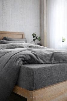 Charcoal Grey Teddy Fleece Deep Fitted Sheet