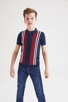 Рубашка поло в вертикальную полоску с воротом на молнии (3-16 лет)