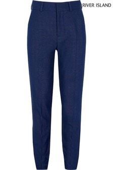River Island Blue Pindot Slim Straight Trousers