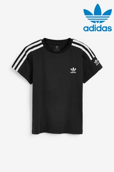 Čierne tričko s malým logom adidas Originals Little Kids