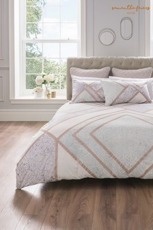 Bawełniana poszwa na kołdrę i poszewki na poduszkiSam Faiers Meryl, z geometrycznym wzorem