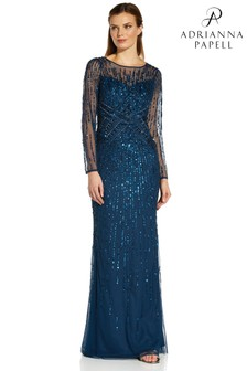 Adrianna Papell Blue Beaded Mermaid Gown