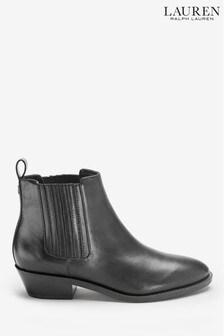 Čierne kožené westernové čižmy Ralph Lauren Erica