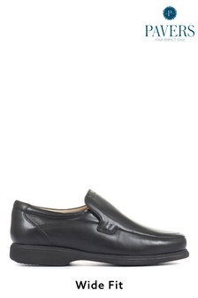 Pavers Men's Wide Fit Black Lightweight Leather Loafers