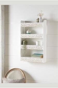White Carved Vintage Multi Shelf