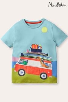 Niebieska koszulka Boden Lift-the-Flap z motywem wakacyjnym