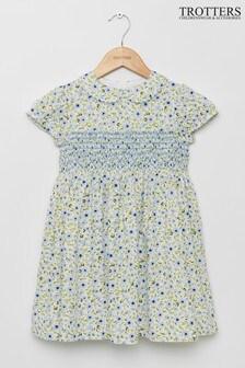 Trotters London blauwe gesmokte Catherine Poppy jurk