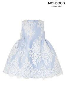 Monsoon藍色嬰兒裝蕾絲連衣裙
