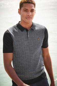 Dogstooth Knitted Polo