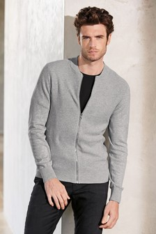 Textured Knitted Zip Through Bomber