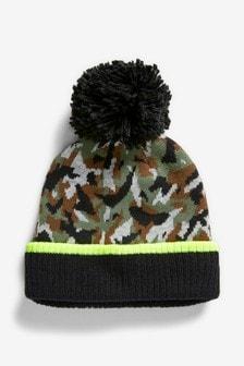 Вязаная шапка с камуфляжным принтом и помпоном (Подростки)