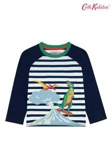 Cath Kidston® White Skateboard Dino Raglan T-Shirt
