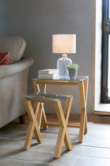 Oak And Glass Nest Of 2 Tables