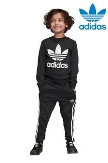 adidas Originals Little Kids Black Crew And Jogger Set