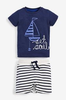 """Комплект из футболки с надписью """"Set Sail"""" и шорт (3 мес.-7 лет)"""