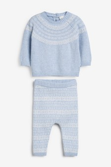 2 Piece Fairisle Pattern Knitted Jumper And Leggings Set (0mths-2yrs)