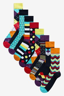 Geometric Pattern Socks Eight Pack