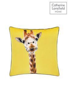 Catherine Lansfield Yellow Giraffe Cushion