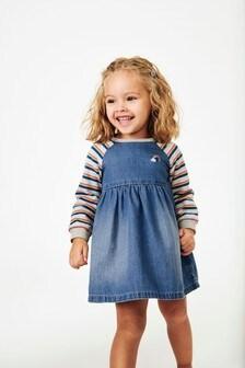 Платье с разноцветными рукавами (3 мес.-7 лет)