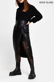 River Island Petite Black Twist Front Wrap Skirt
