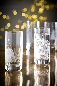 Frosted Christmas Trees Set of 4 Tumbler Glasses