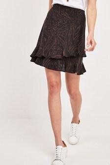 Мини-юбка с зебровым принтом и оборками