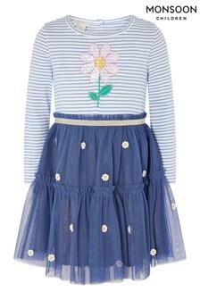 Monsoon藍色嬰兒裝小雛菊2合1連衣裙