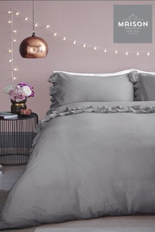 Maison Stone Wash Ruffle Cotton Duvet Cover And Pillowcase Set