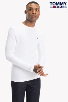 تي شيرت مضلع كم طويل أبيض من Tommy Jeans Original