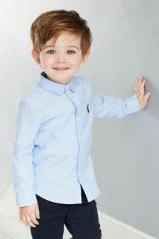 Оксфордская рубашка с длинными рукавами (3 мес.-7 лет)
