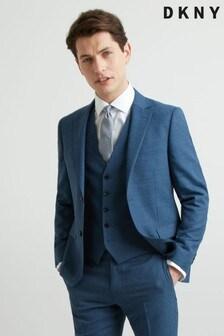 ז'קט קיצי בצבע כחול בגזרה צרה עם טקסטורה של DKNY
