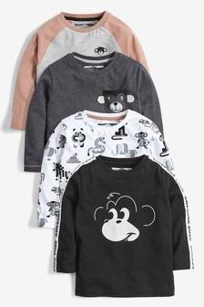 Lot de 4 t-shirts à manches longues et motif singe (3 mois - 7 ans)
