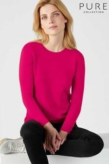 Розовый свитер прямого кроя с круглым вырезомPure Collection