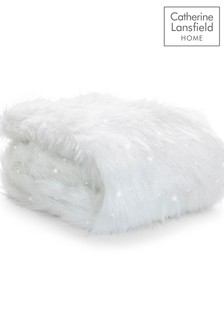 Catherine Lansfield White Metallic Faux Fur Throw