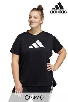 adidas Curve Black Badge of Sport Logo T-Shirt