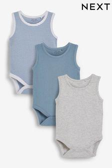 3 Pack Rib Vest Bodysuits (0mths-3yrs)