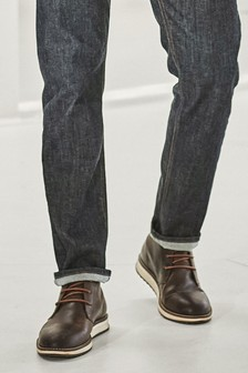 Wedge Sole Leather Chukka Boots