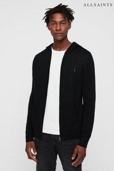 AllSaints Merino-Kapuzenjacke mit Reißverschluss, schwarz