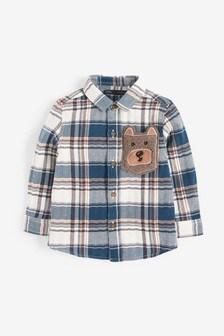 Check Bear Pocket Long Sleeve Shirt (3mths-7yrs)