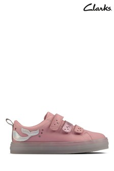 Clarks Pink Leather Flare Shell K Shoes