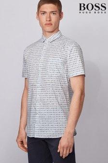 חולצה קצרה-1 שלBOSS דגם Magneton בצבע לבן
